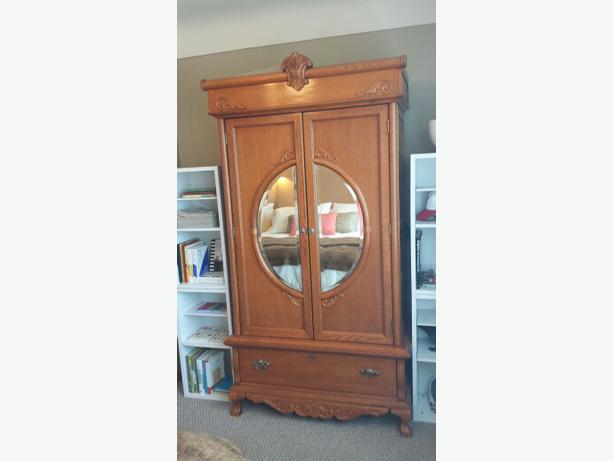 Obo solid oak wood armoire tv cabinet wardrobe special