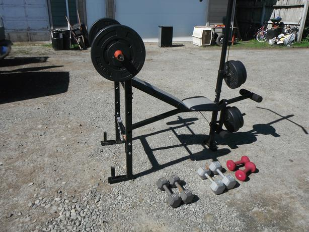 Pulleys Nanaimo : Multi area weight workbench dumb bells duncan outside