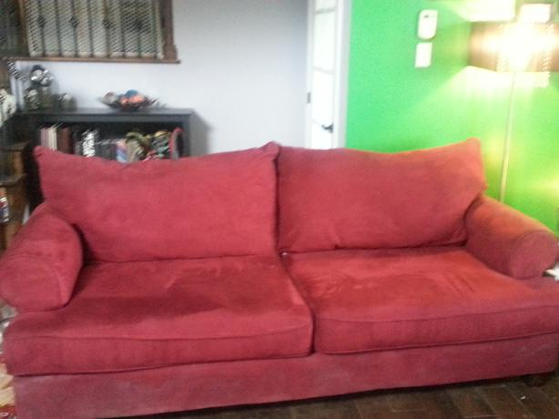 Red micro suede couch es 2 for sale plus end tables for Suede couches for sale