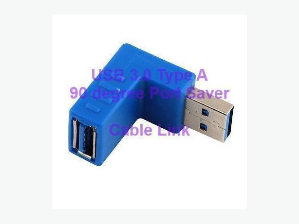 USB 3.0 Type A M/F 90 degree Adapter and Port Saver