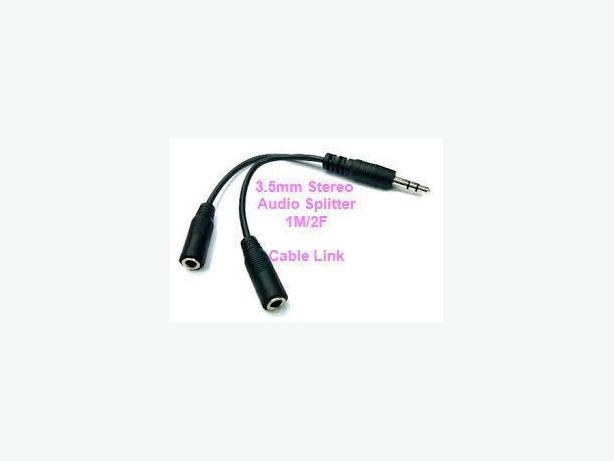 3.5mm 1/8' Stereo Audio Y Splitter ( 1 M / 2F ) Cable Adapter