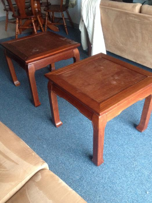 2 wood side tables or put them together for one coffee for Coffee tables you can put photos in