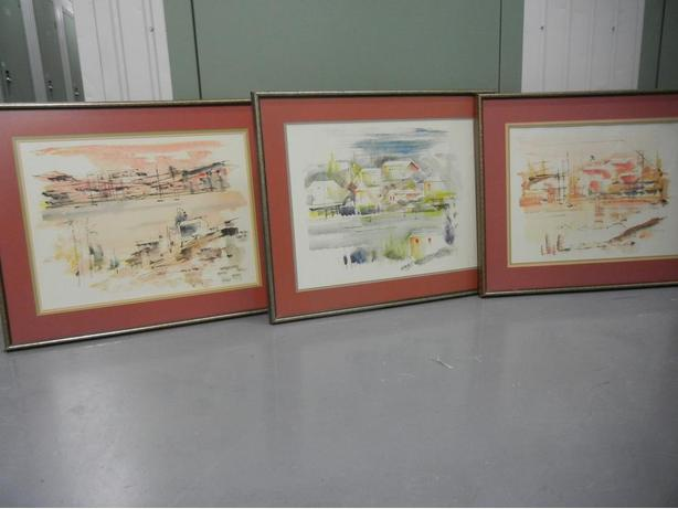 ALFRED BIRDSEY LOT of 3 Original Watercolour Paintings MCM