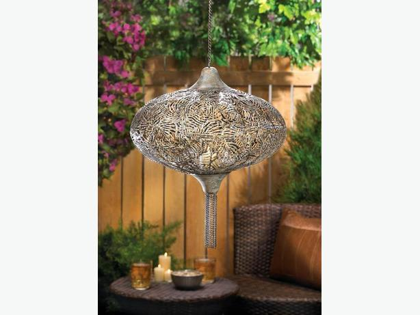 Hanging Rustic Metal Candleholder Lantern Lamp with Chain Tassels Set of 2 New