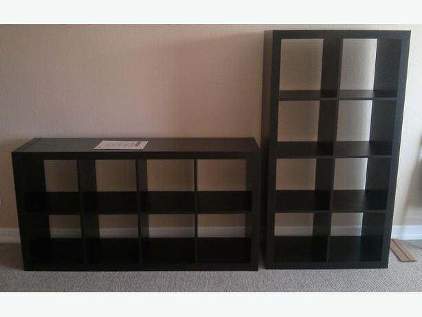 Ikea expedit shelving unit black brown with boxes victoria for Ikea box shelf unit