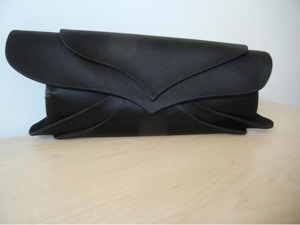 GIORGIO ARMANI Designer Black Satin Clutch Handbag Purse