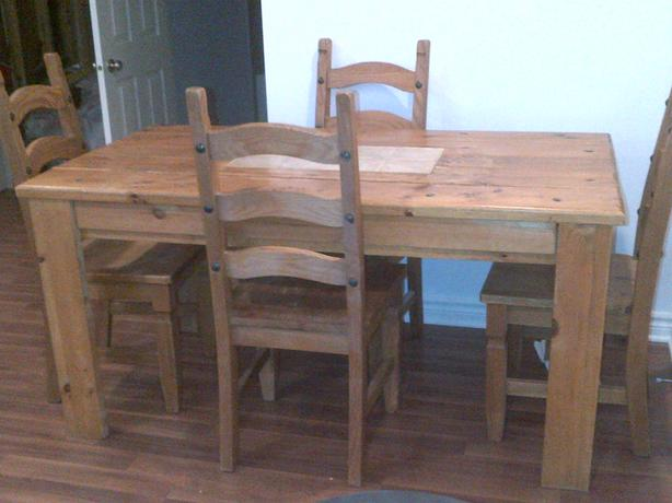 Rustic Wooden Harvest Table And Four Pier 1 Import Chairs