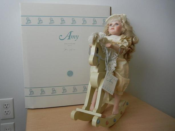 'AMY' Vintage Porcelain Doll WITH wooden Rocking Horse and Box! By Jane Zidzunas