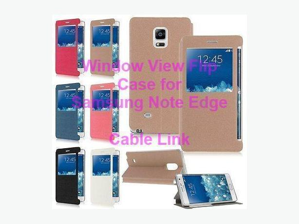 Window View Flip PU Leather Case for Samsung Galaxy Note Edge