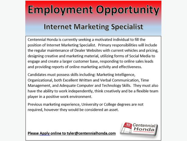 employment opportunity internet marketing specialist centennial honda summerside pei