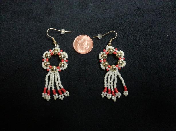 Silver red white Beaded Earrings