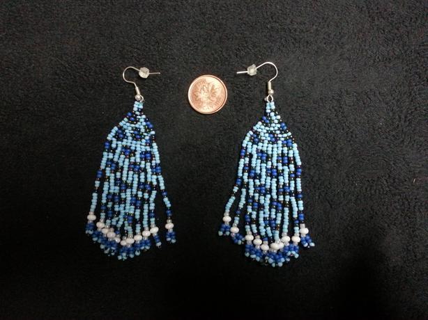 Bead Earrings: Blue Leopard Spots