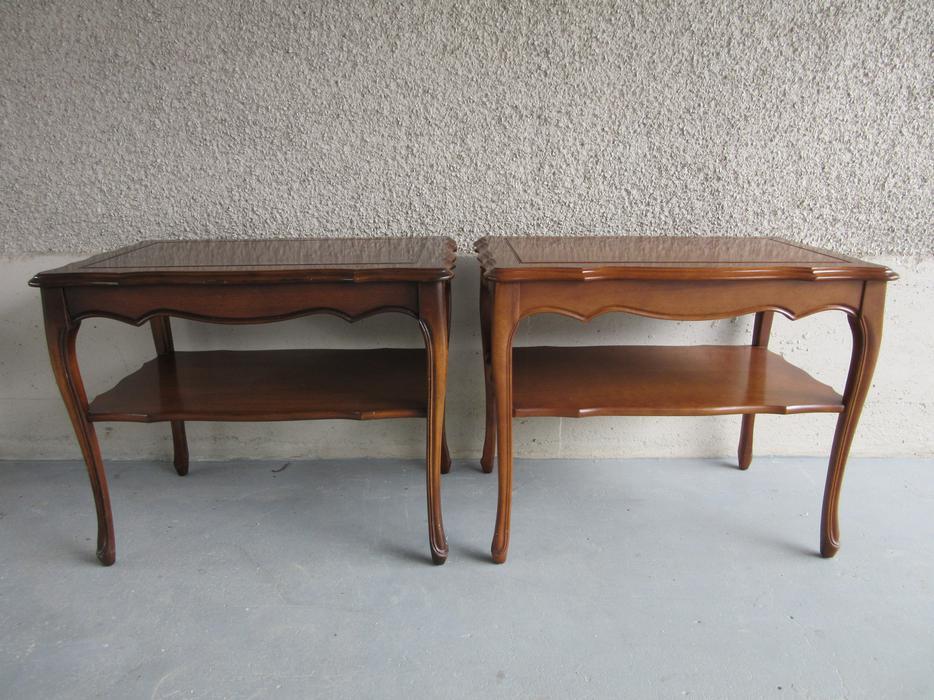Set of antique vintage french provincial side tables for - Antique side tables for living room ...