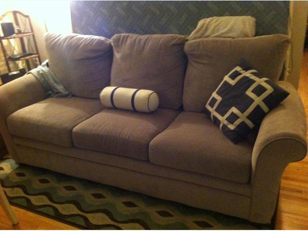Beige sofa bed couch victoria city victoria mobile for Sofa bed victoria bc