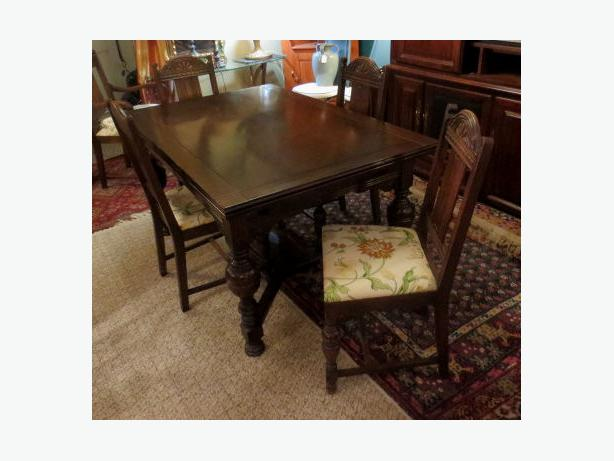 dark oak dining table w six chairs mc visa delivery avail central