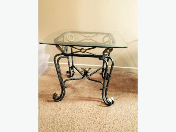 Glass coffee and side tables orleans ottawa mobile for Coffee table with cast iron legs