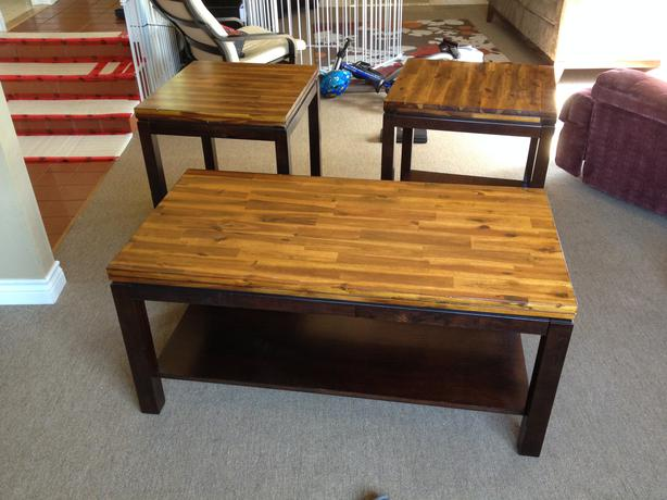 Solid wood coffee table 2 matching end tables central saanich victoria Matching coffee table and end tables