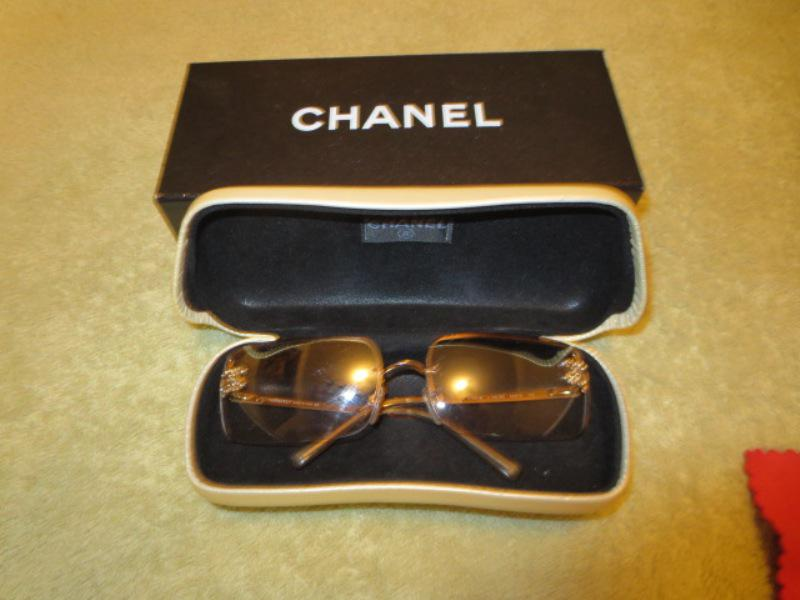 CHANEL SUNGLASSES WITH GOLD COLORED FRAMES IN MINT COND ...
