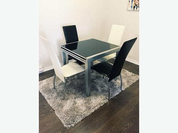 structube extendable glass dining table set - Extendable Glass Dining Table Set