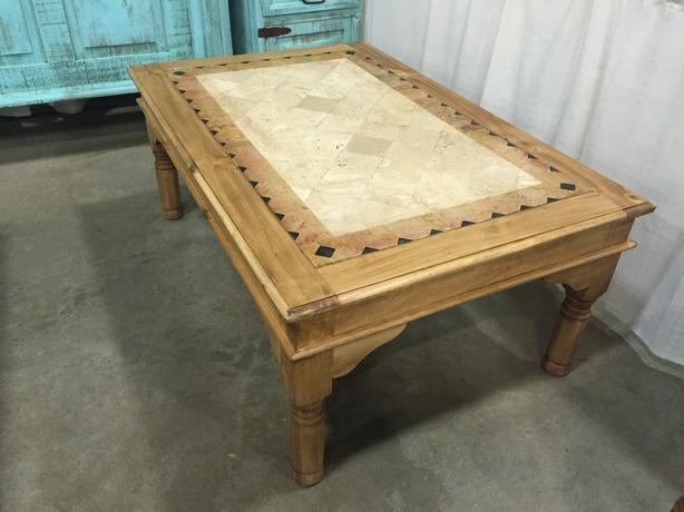 Rustic marble inlay coffee table outside calgary area for Coffee table 48 x 30