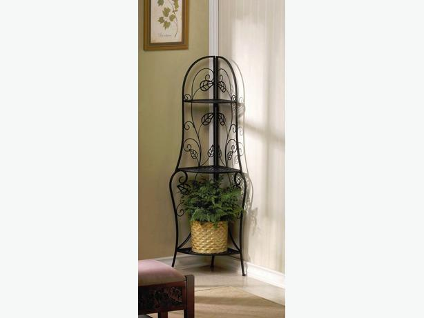 Spacesaving Metal Baker 39 S Rack Curio Corner Shelf Plant Stand With Leaf Accents Outside Calgary