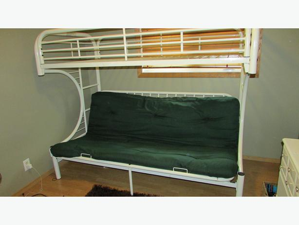 White bunk bed with bottom double futon west regina regina for Bunk bed with double on bottom