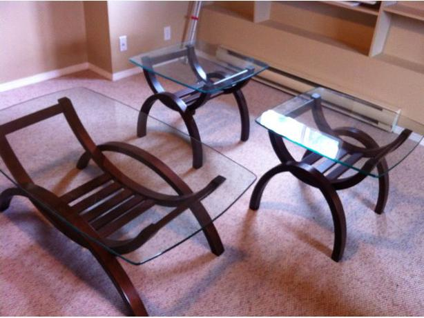 Modern 3 Piece Glass Coffee Table Set Esquimalt View Royal Victoria