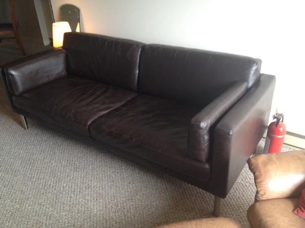 ikea brown leather couch