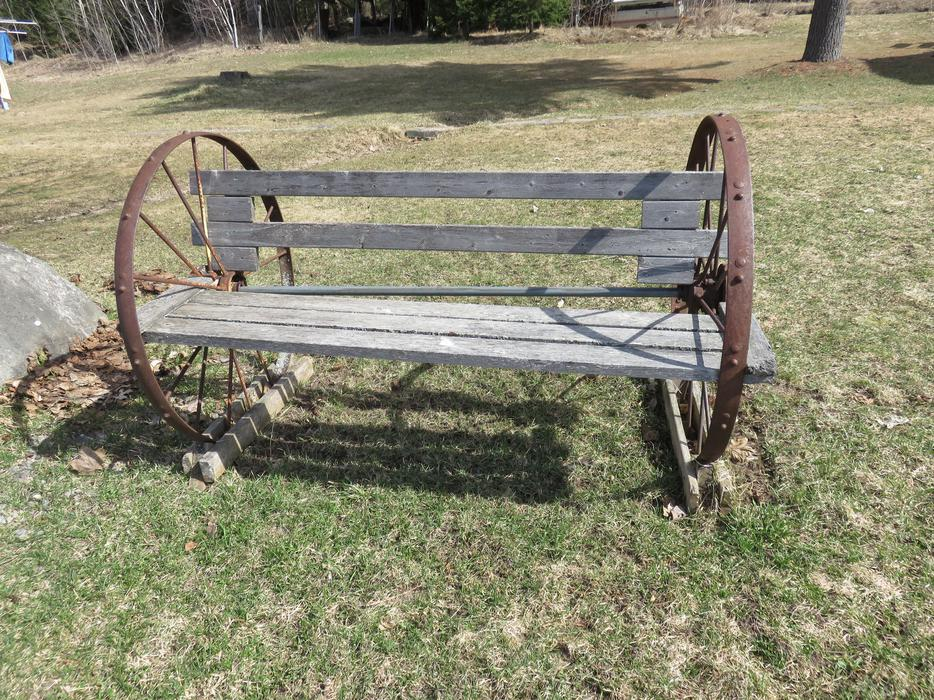 Wagon Wheel Bench Outside Sault Ste Marie Sault Ste Marie