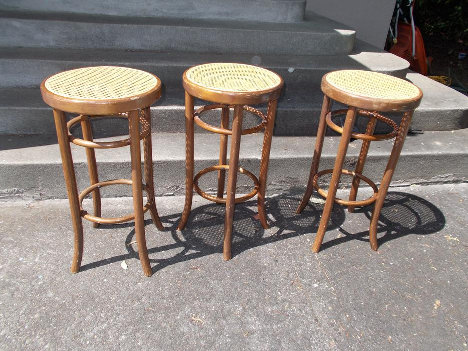 Set Of 3 Very Nice Thonet Style Bentwood Bar Stools With