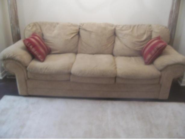 Super comfy microfiber beige sofa for sale gloucester for Comfy couches for sale