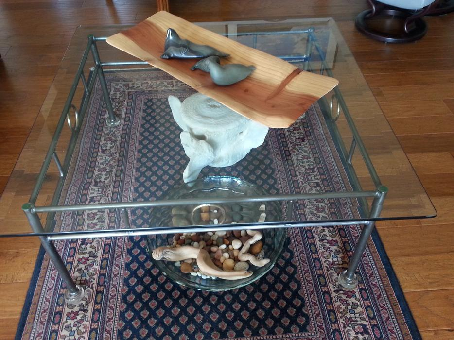 42 Square Glass Coffee Table On Pewter Coloured Iron Base Outside