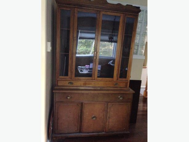 2 Piece Solid Walnut Wood Dining Room Hutch West Shore