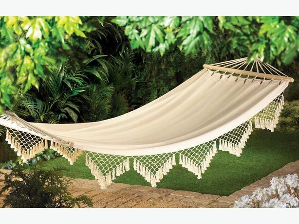 Canvas Hammock With Fringe Brand New
