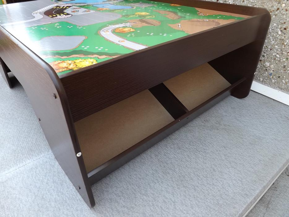 Kidcraft wood train table with 4 cubby bins 46 by 16 by for Kids craft table canada