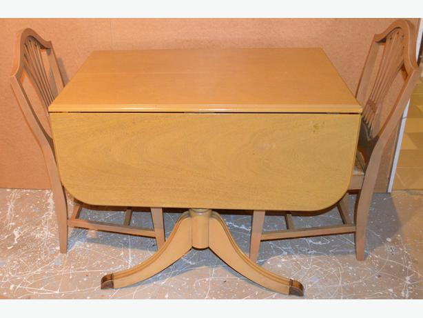 Blonde Oak Drop Leaf Duncan Phyfe Dining Room Table 4 Chairs North West