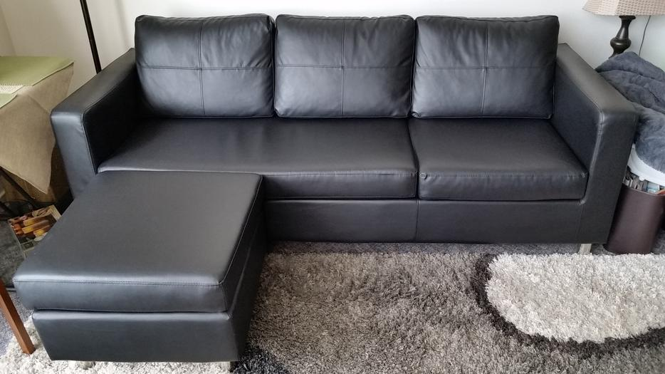 Black Faux Leather Sofa Amp Ottoman Victoria City Victoria