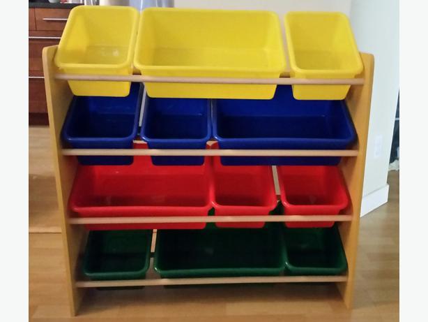 toy storage shelf and plastic colored bins victoria city. Black Bedroom Furniture Sets. Home Design Ideas