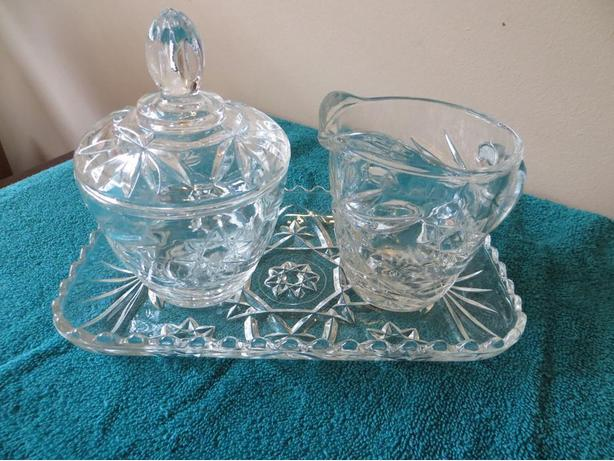 Pressed Glass Creamer and Sugar Bowl  (reduced++)