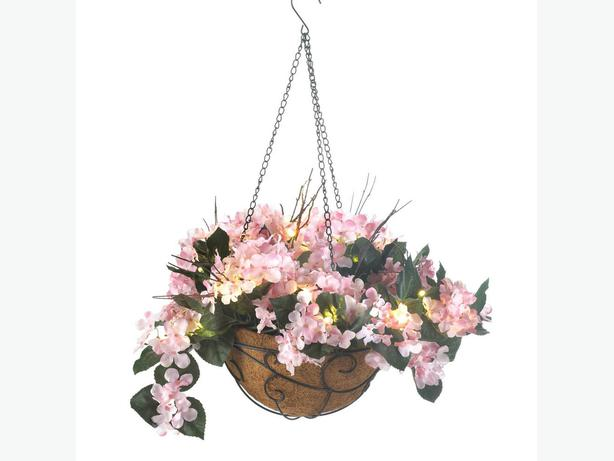 Hanging Flower Baskets Calgary : Light up faux artificial hydrangea hanging plant baskets
