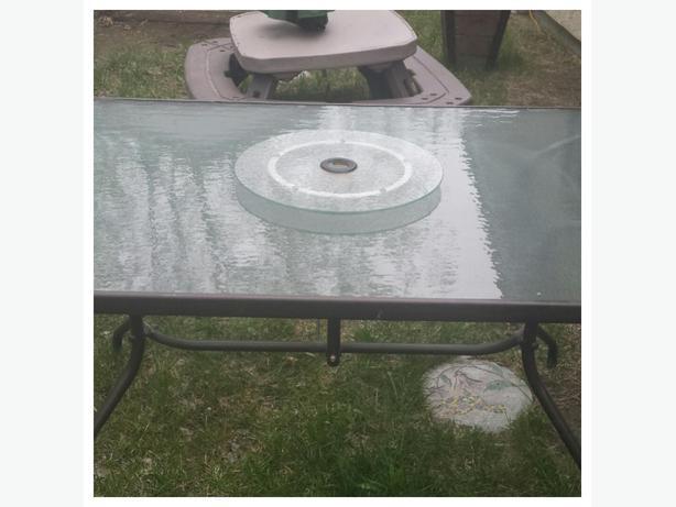 Outdoor Patio Table With Lazy Susan East Regina Regina