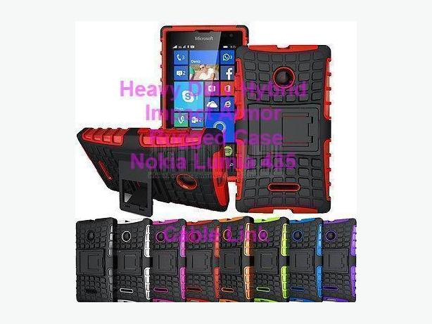 Heavy Duty Hybrid Armor Rugged Stand Case for Nokia Lumia 435
