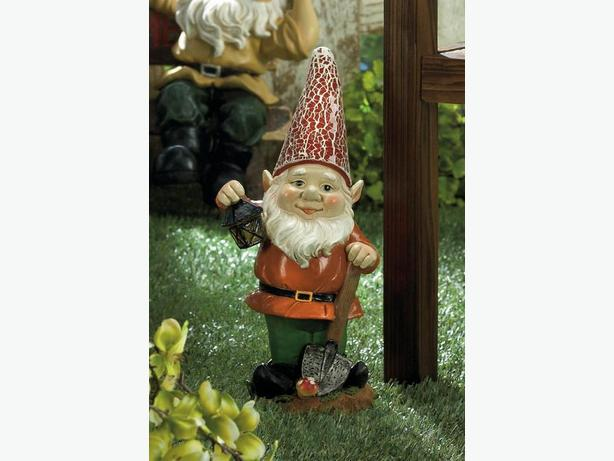 Solar Gnome With Shovel Lantern & Red Light-Up Hat Brand New