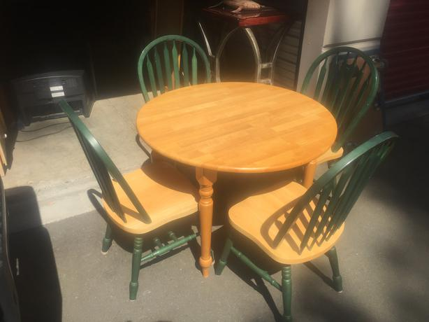 solid rubberwood table and chairs and storage locker full of furniture