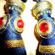 4 Royal Blue & Red Crystal Curtain Tassels Bombay Company NEW!!