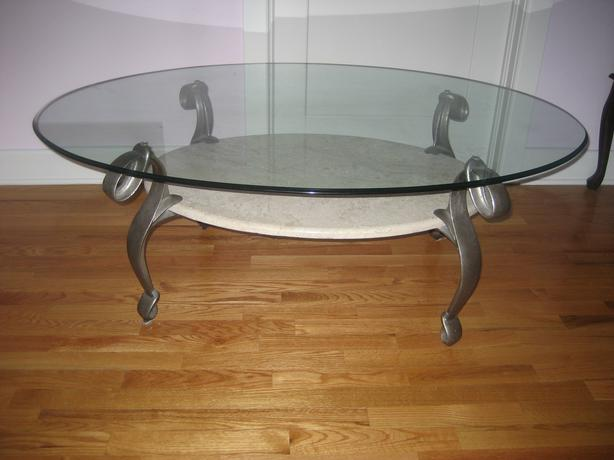 Oval coffee table with glass top and marble shelf kanata for Oval coffee table with marble top