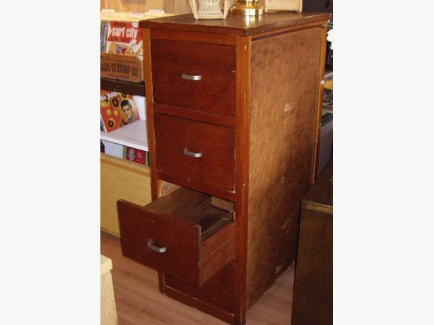 Large Older Solid Fir Wood Filing 4 Drawer Cabinet Outside