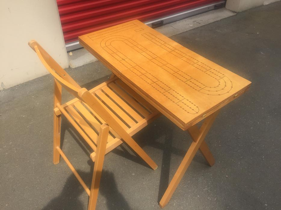 hand crafted folding cribbage table and chair storage