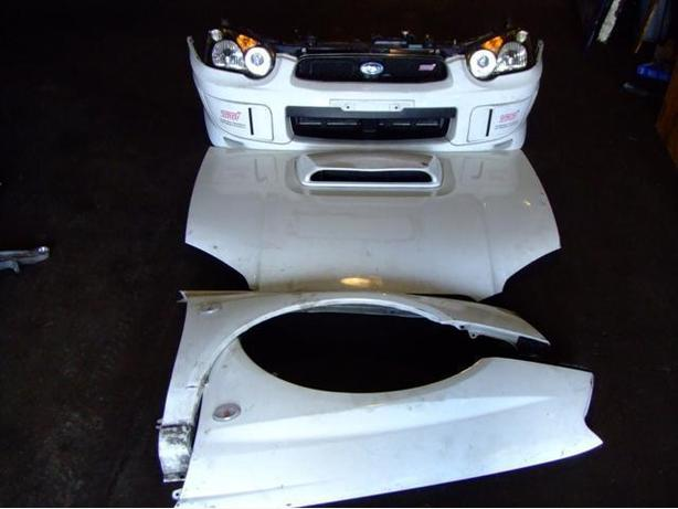 JDM SUBARU WRX STI VERSION 8 FRONT END NOSE CUT LIGHTS HID HOOD BUMPER WITH LIP