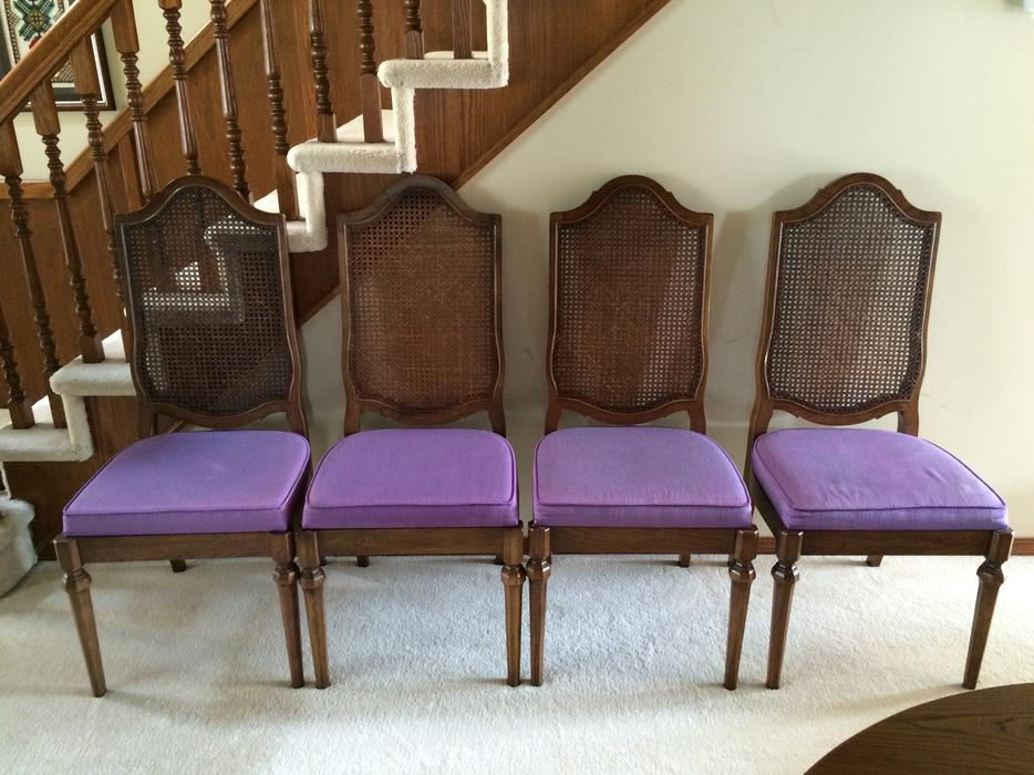 Four 4 Formal Dining Room Chairs With Purple Seat